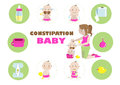 Constipation baby illustration in the circle Royalty Free Stock Photo