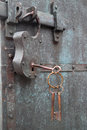 Constipation of old door latch and lock Stock Photo