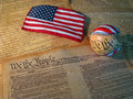 Constitution Baseball and Flag Royalty Free Stock Photo