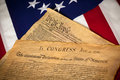 Constitution & Declaration of Independence On flag Royalty Free Stock Photo