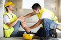 Construction accident worker has an while working on new house Royalty Free Stock Images