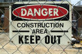 Construction Area Danger sign Royalty Free Stock Photos