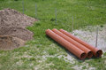 Construction Area with Plastic Pipes Royalty Free Stock Photo