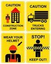 Construction area signs Stock Images