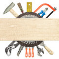 Construction background carpentry collage tools underneath wood plank Royalty Free Stock Photos