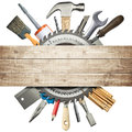 Construction background carpentry collage tools underneath wooden planks Royalty Free Stock Photo