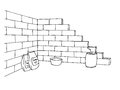 Construction brick wall building graphic art black white illustration Royalty Free Stock Photo