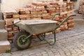 Construction Bricks with hand barrow Royalty Free Stock Photography