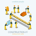 Construction builders people set flat 3d web isometric concept Royalty Free Stock Photo