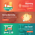 Construction and building banners set. Flat illustrations on the theme of home plumbing,  electricity, car repair service station. Royalty Free Stock Photo