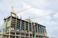 Construction of building outdoor buildings under with cranes Royalty Free Stock Photography