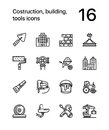 Construction, building, tools seamless vector outline icons for web and mobile design pack 1