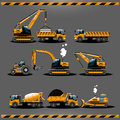 Construction Cars Vector Icon Set