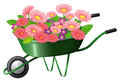 A construction cart with lots of flowers illustration on white background Stock Photos