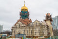 Construction of the Cathedral of St. Andrei Rublev in Moscow municipal district Ramenki.