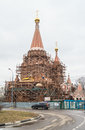 Construction of the Church of All Saints at Filevskaya floodplain. Moscow.
