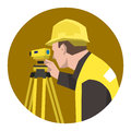 Construction civil engineer surveying using theodolite tool