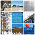 Construction collage a of home building scenes Stock Image