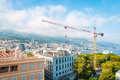 Construction crane in Monte Carlo, Monaco. Stock Photos