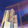 Construction crane near the building Royalty Free Stock Photo