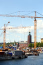 Construction crane in Stockholm Royalty Free Stock Photo