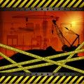 Construction crane at sunset background