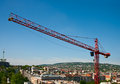 Construction crane tower over the city Royalty Free Stock Photo