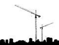 Construction cranes and silhouettes buildings on a white background Stock Photo