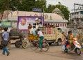 Construction crew travels to job. Royalty Free Stock Photo