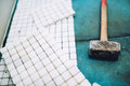 Construction details - Tools and mosaic tiles for home improvement, renovation close up