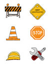 Construction Doodle Signs Royalty Free Stock Photos