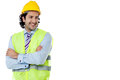 Construction engineer smiling confidently Royalty Free Stock Photo