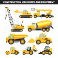 Construction equipment machinery flat icons set and with trucks crane and bulldozer bright yellow abstract isolated vector Royalty Free Stock Photos