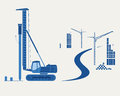 Construction equipment silhouettes of pile driver cranes and buildings eps opacity Royalty Free Stock Photo