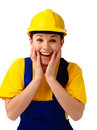 Construction girl holding her face in astonishment Stock Images