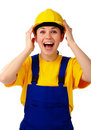 Construction girl holds her hard hat and scream Royalty Free Stock Images