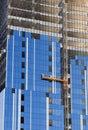 Construction. Glazing of concrete structure Stock Photos