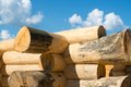 Construction of the handcrafted scribe fit log house Stock Image