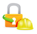 Construction helmet and padlock illustration design graphic Royalty Free Stock Images