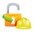 Construction helmet and unlock padlock illustration design Royalty Free Stock Photography