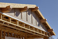 Construction Home Building carpentry gable roof framing detail Royalty Free Stock Photo