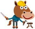 Construction horse a funny illustration of a as a worker Royalty Free Stock Photography