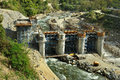 Construction of hydro power stations on the river alaknanda near rudraprayag uttarakhand india Stock Photo