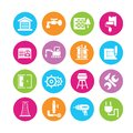 Construction icons in colorful round buttons Royalty Free Stock Photos