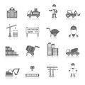 Construction icons set black with truck crane and workers isolated vector illustration Stock Image