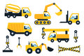 Construction icons set flat vector illustration vehicle Royalty Free Stock Photos