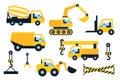 Construction icons set flat vector illustration vehicle Royalty Free Stock Photos