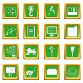 Construction icons set green