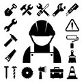 Construction icons set illustration eps Stock Photos