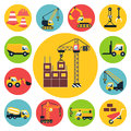 Construction icons set vehicle flat vector illustration Royalty Free Stock Photos